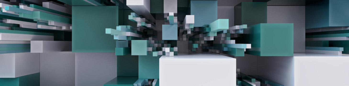 Multicolored 3D Block background. Tech Wallpaper with Natural hues. 3D Render