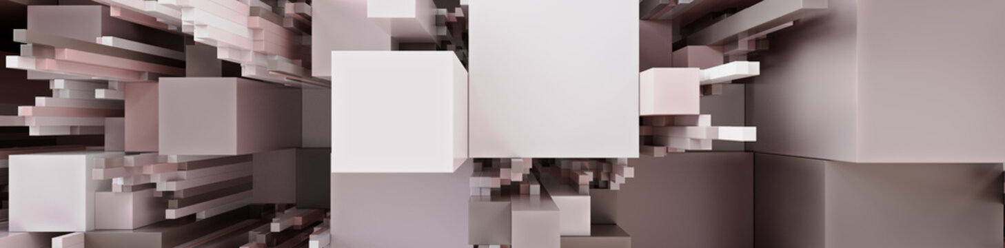 Multicolored 3D Block background. Tech Wallpaper with Natural pastel colors. 3D Render