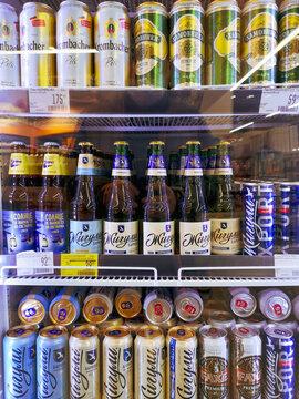 Lipetsk, Russia - December 18, 2020: Alcoholic drinks on the shelves in the market.