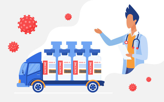 Vaccine delivery vector illustration. Cartoon courier truck delivering medical vaccine bottles first aid, doctor character advising vaccination to patient, logistics distribution technology background