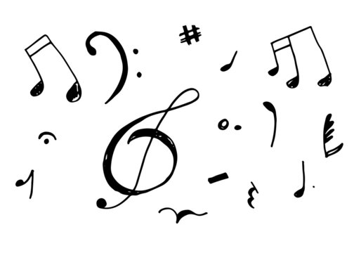 set hand drawn icons such as eight note rest, half note, beam, thirty second note, flat,music and media outline thin icons collection.