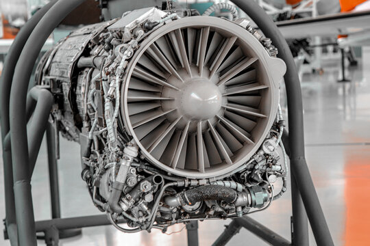 Detail from a airplane engine in a maintenance hangar