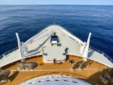 View from Bridge over Bow of legendary Cunard luxury ocean liner Queen Mary 2 cruise ship QM2 on passage during Transatlantic Crossing from Southampton to New York