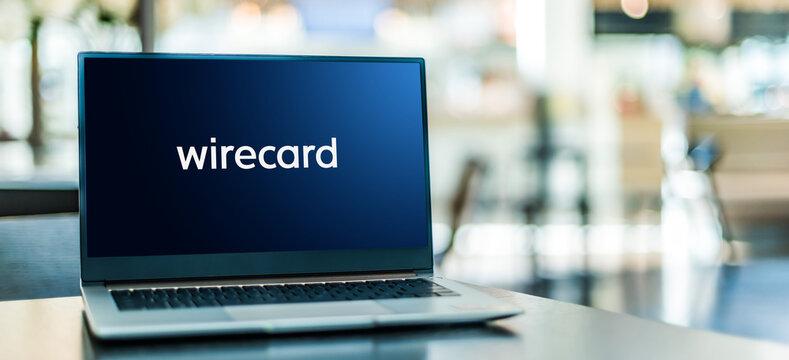 Laptop computer displaying logo of Wirecard