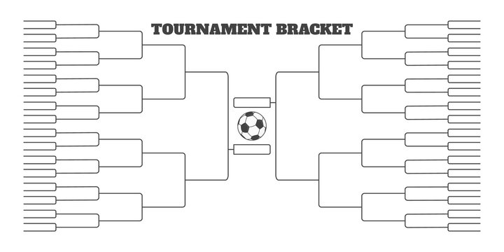 64 soccer team tournament bracket championship template flat style design vector illustration isolated on white background. Championship bracket schedule for soccer, football game spreadsheet.