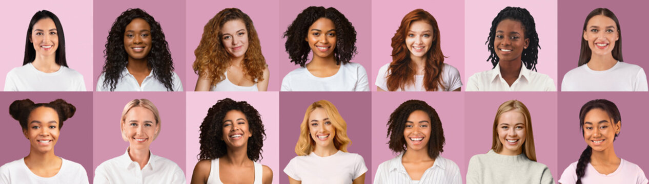 Cheerful beautiful women of different nationalities over pink