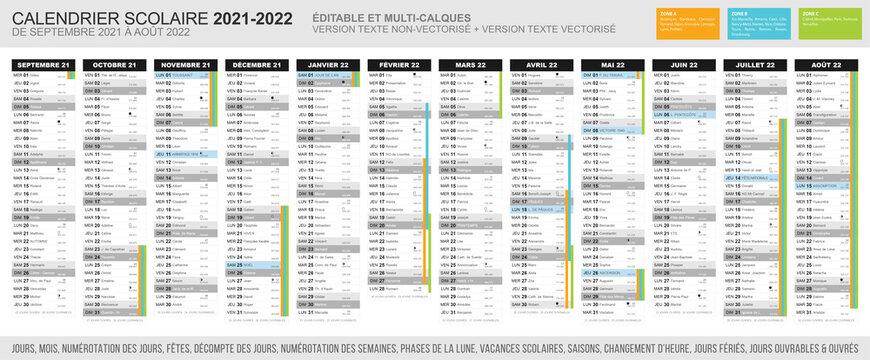 Calendrier scolaire 2021 - 2022. Fichier éditable et multi-calques.
