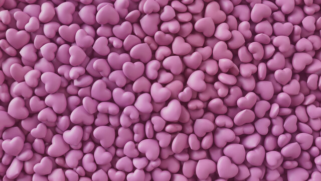 Heart background. Valentine Wallpaper with Pink love hearts. 3D Render