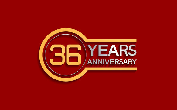 36 years anniversary golden and silver color with circle isolated on red background use for party and celebration special moment