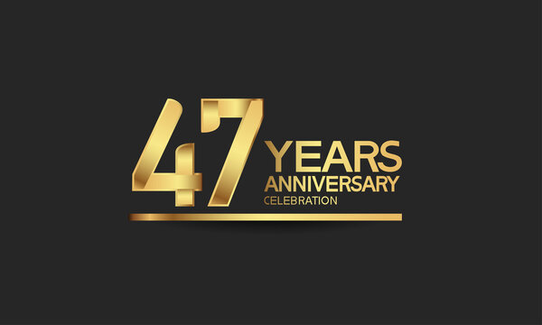 47 years anniversary celebration with elegant golden color isolated on black background can be use for special moment, party and invitation event