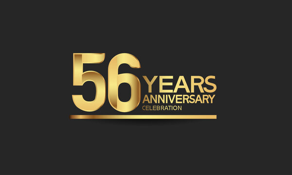 56 years anniversary celebration with elegant golden color isolated on black background can be use for special moment, party and invitation event