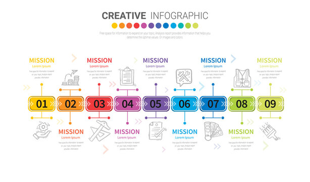 Infographic design template with 9 options, Can be used for process diagram, presentations.