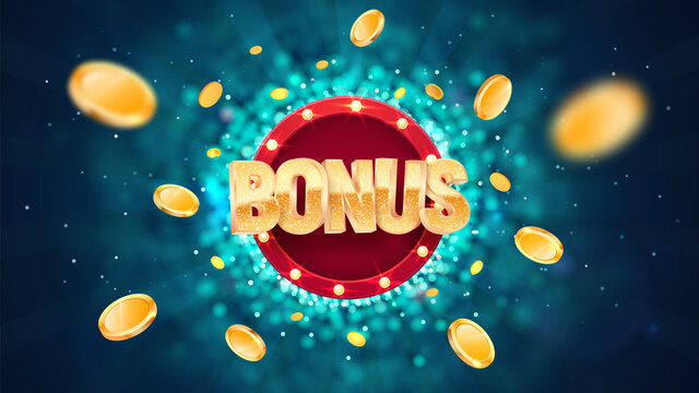 Extra bonus gold text on retro red board vector banner. Win prize congratulations illustration for casino or online games. Explosion coins on dark blue background with blur motion effect
