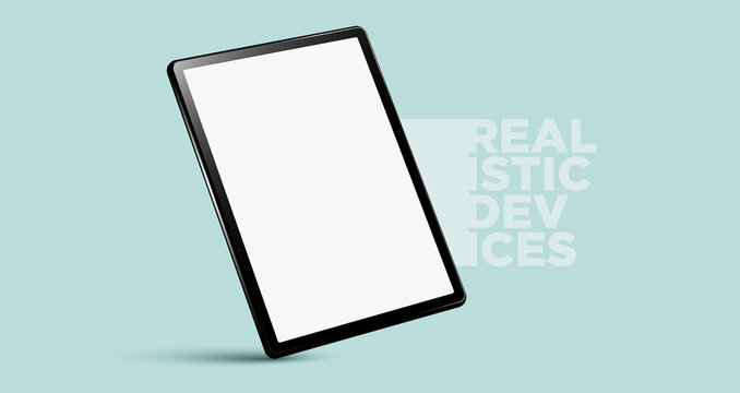 Realistic vertical black tablet pc pad computer mockups vector EPS.
