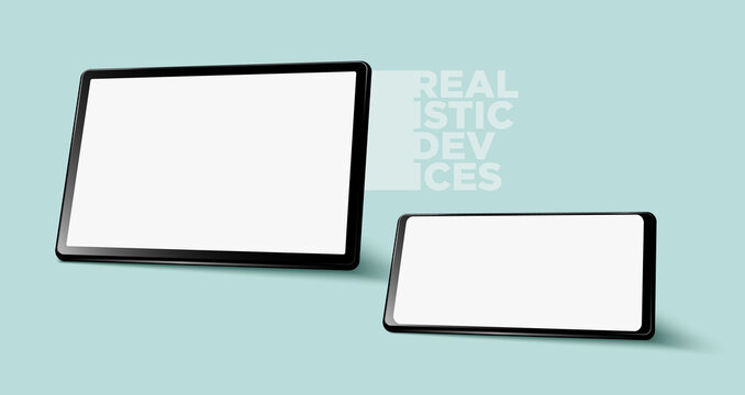 Realistic horizontal black tablet pc pad computers and smartphone mockups vector EPS.