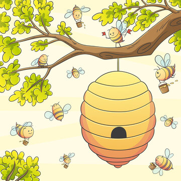 Bees at the hive. Hand drawn vector illustration with separate layers.