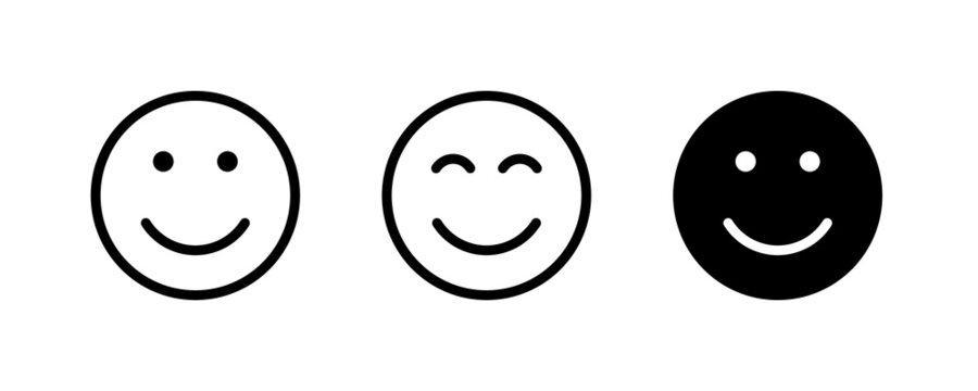 Smile Face icon, Laughter, Fun, faces, Humor, smile, emoticon, positive. Happy face icons button, vector, sign, symbol, logo, illustration, editable stroke, flat design style isolated on white linear