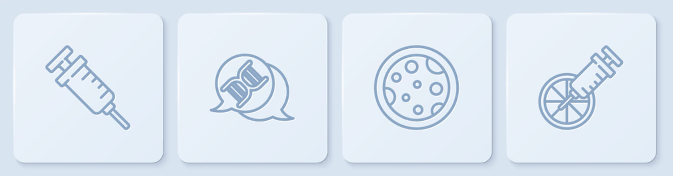 Set line Syringe, Petri dish with bacteria, DNA symbol and Genetically modified orange. White square button. Vector.