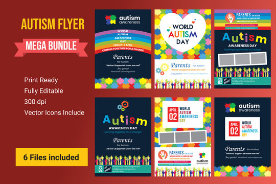 Colorful Flyer or banner or poster  Set of World autism awareness day with hand of puzzle pieces. Autism awareness concept with hand of puzzle pieces as symbol of autism, illustration,banner or poster