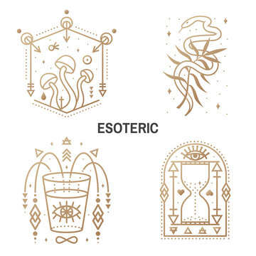 Esoteric symbols. Vector Thin line geometric badge. Outline icon for alchemy or sacred geometry. Mystic and magic design with alchemy symbols, mushrooms, snake, wildflower, hourglass, glass