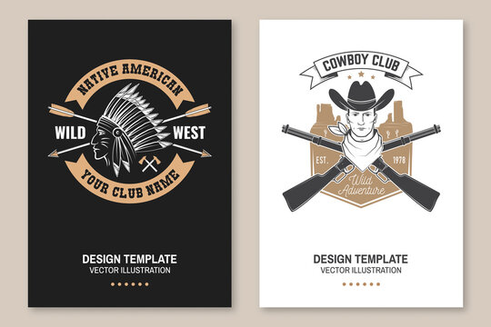 Cowboy club poster, flyer. Ranch rodeo. Vector. Concept for shirt, logo, print, stamp, tee with cowboy and shotgun. Vintage typography design with american canyon silhouette