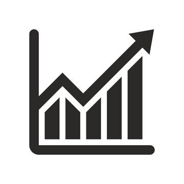 Growing graph icon. Bar chart. Infographic. Vector icon isolated on white background.