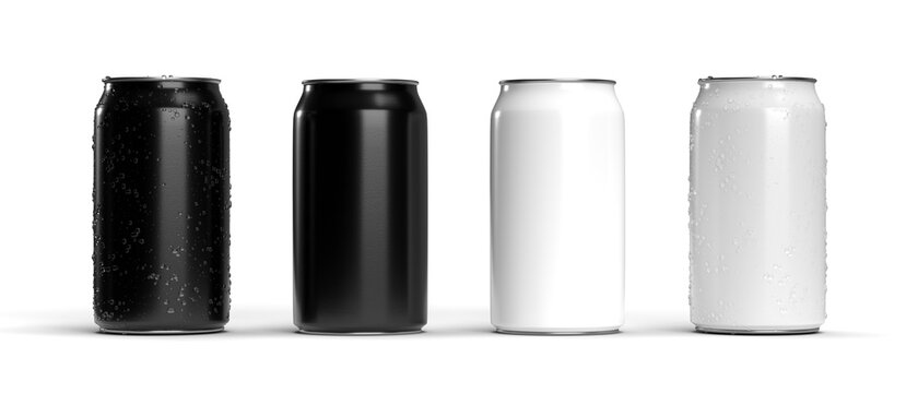 Realistic Cans black white for mock up. Soda can mockup. 3d rendering.