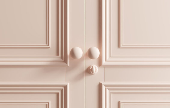 Pink coloured classic doors background. 3d illustration