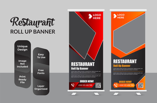 Food and Restaurant roll up banner design template collection