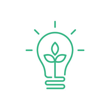 Green lightbulb with leaf inside. Clean energy concept. Sustainable renewable resources. Environmental friendly electricity. Energy saving. Ecological. Solar power. Vector illustration, flat, clip art
