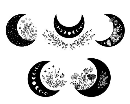 Floral moon clipart. Moon phase flowers set. Black moon elements. Celestial crescent isolated logo. Hand drawing