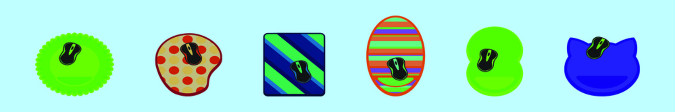 set of mouse pad cartoon icon design template with various models. vector illustration isolated on blue background