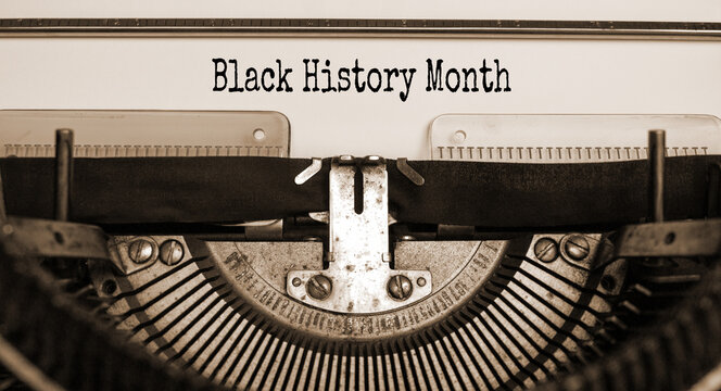 Black history month symbol. Text 'Black history month' typed on retro typewriter. Black history month concept. Beautiful background.