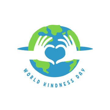 World kindness day logo. Random acts of kindness day emblem. Caring, responsibility, altruism of people. November 13. Hands show the heart and planet. Vector illustration. Global earth. Ecology theme.
