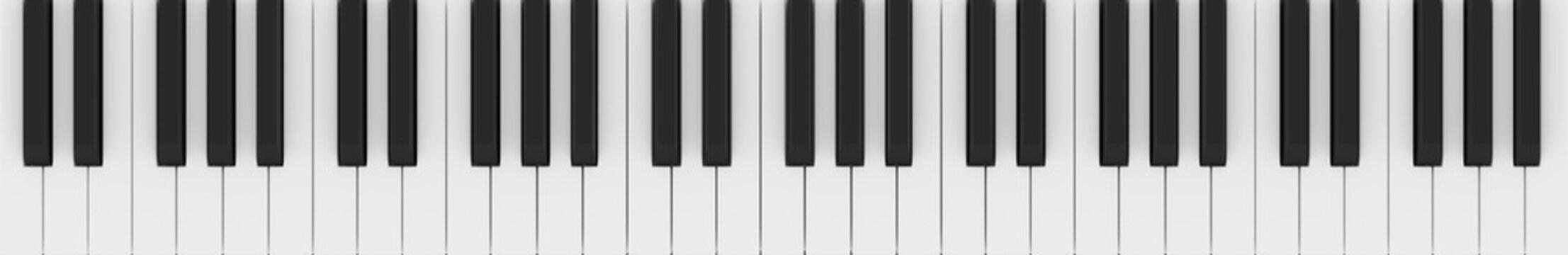 Five-Octave Piano Keys (Realistic 3d Illustration)