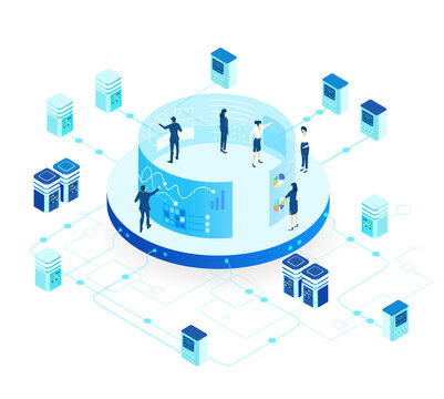 Isometric 3D business environment. Business management. Isometric office space, server room with business people. Technology, success, internet, data protection and personal security infographic