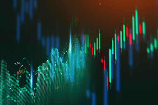 Concept of stock market and fintech forex concept. Blurry green digital charts over dark blue background. Futuristic financial interface. illustration.