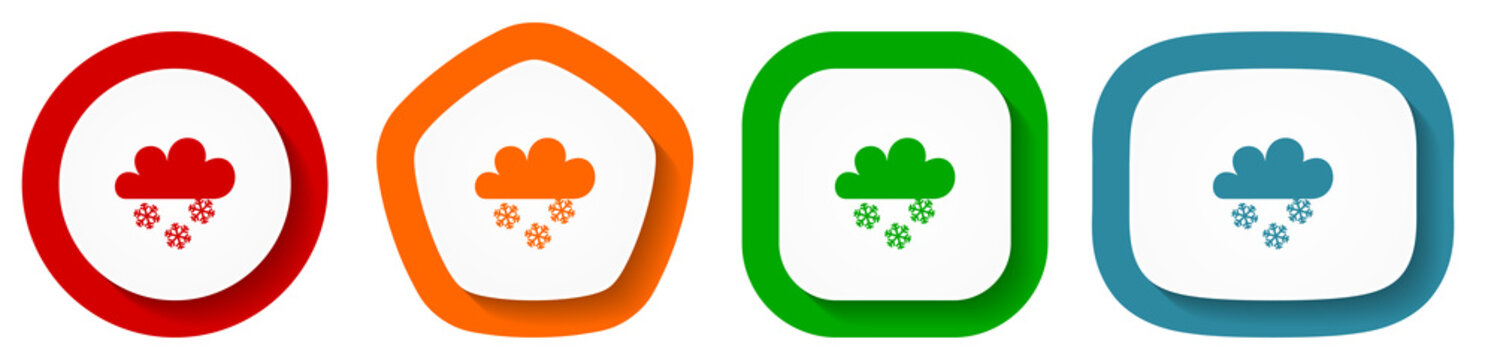 Snowing vector icon set, flat design buttons on white background for webdesign and mobile phone apps