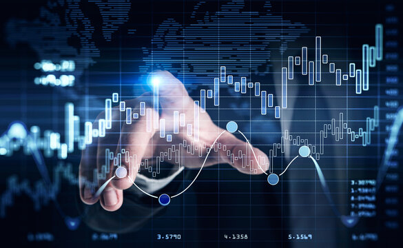 Historical data. Financial graph showing increase of price in stock market, internet trading concept, business person touching chart by finger. Forex. Double exposure