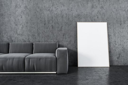 Mockup frame near grey sofa in living room with marble floor