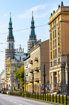 Panoramic view of ul. Marszalkowska street with communist architecture of MDM quarter and Holiest Savior Church in Srodmiescie district of Warsaw, Poland