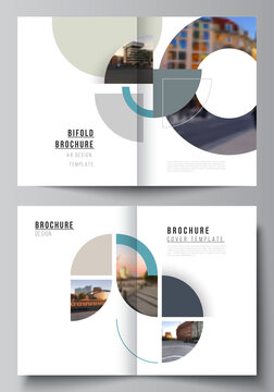 Vector layout of two A4 cover mockups design template for bifold brochure, flyer, cover design, book, brochure cover. Background with abstract circle round banners. Corporate business concept template