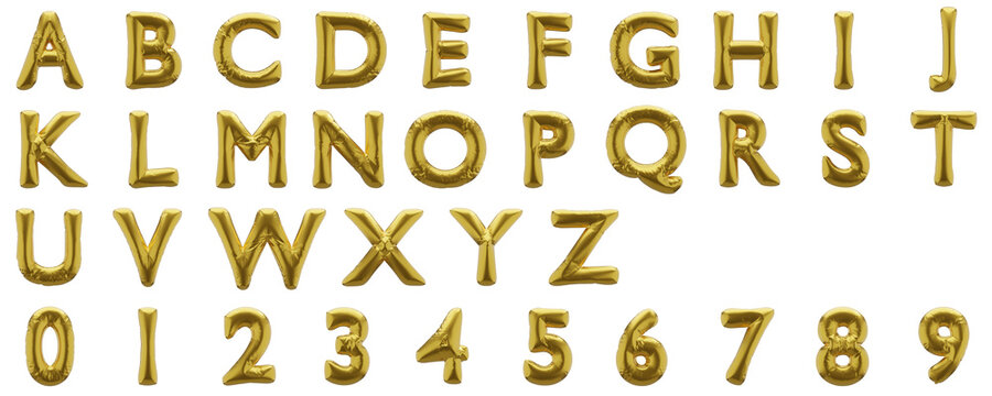 Full alphabet of golden inflatable balloons isolated on white background. 3D rendered.
