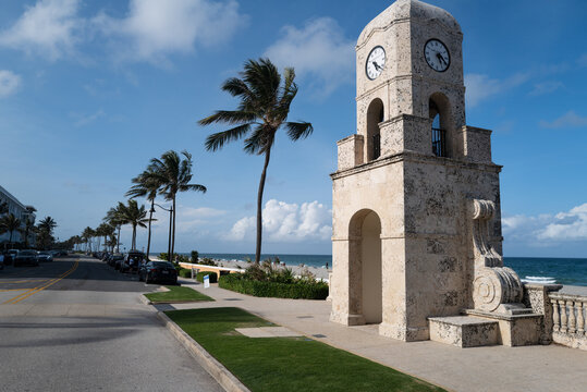 Palm Beach, FL, USA - MAY, 2020: Clock tower on Worth Ave. Florida holidays.