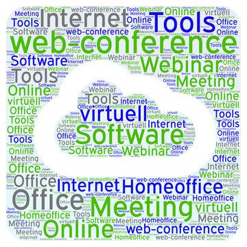 Beschreibung einer Web-conference als Wortwolke mit Text