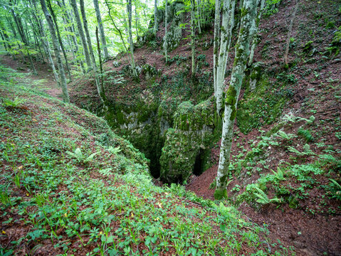 entrance to Pozzo Della Neve cave, an abyss in the Matese National Park