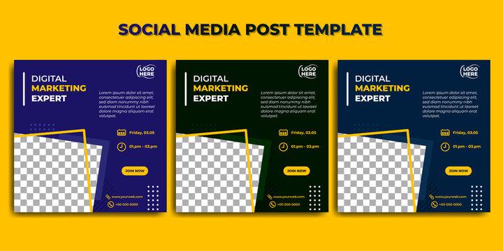 Set of Social media post template. Digital marketing expert banner design. good template for online advertising design.