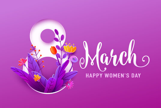 8 march, happy womens day greeting banner vector illustration in 3d paper cut style. Big number eight with spring flowers and leaves on purple background