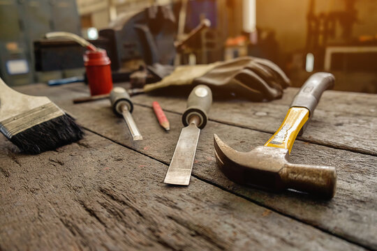 Close-up Of Carpentry Tools On Table