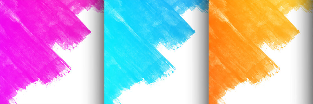 Collection of three colorful brush stroke design background
